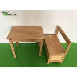 Kinderholztisch mit Sitztruhe