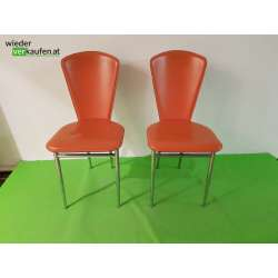 Orangene Kunstleder Sessel-...