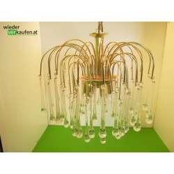 6flammiger Glas- Tropfenluster