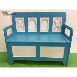 Blau/weiße Sitztruhe